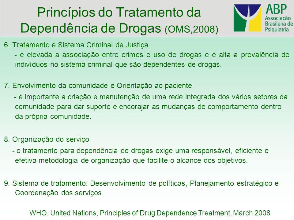 6. Tratamento e Sistema Criminal de Justiça - é elevada a associação entre crimes e uso de drogas e é alta a prevalência de indivíduos no sistema crim