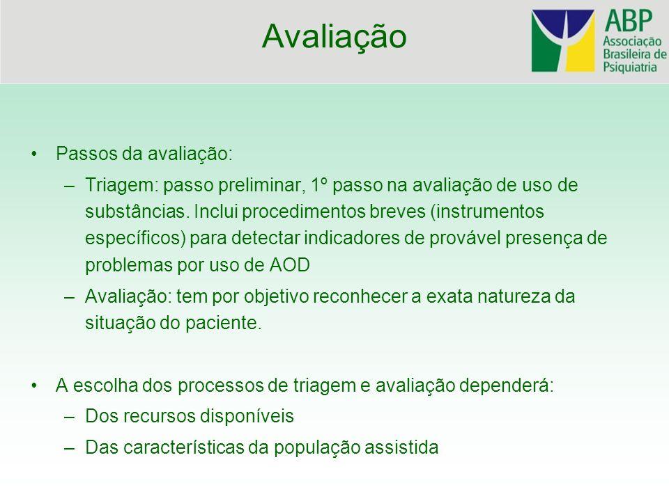 Avaliação Passos da avaliação: –Triagem: passo preliminar, 1º passo na avaliação de uso de substâncias. Inclui procedimentos breves (instrumentos espe