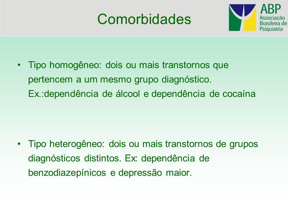 Comorbidades Tipo homogêneo: dois ou mais transtornos que pertencem a um mesmo grupo diagnóstico. Ex.:dependência de álcool e dependência de cocaína T