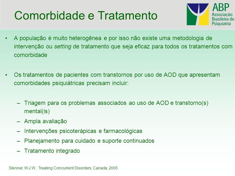 Comorbidade e Tratamento A população é muito heterogênea e por isso não existe uma metodologia de intervenção ou setting de tratamento que seja eficaz