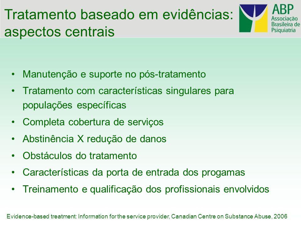 Manutenção e suporte no pós-tratamento Tratamento com características singulares para populações específicas Completa cobertura de serviços Abstinênci