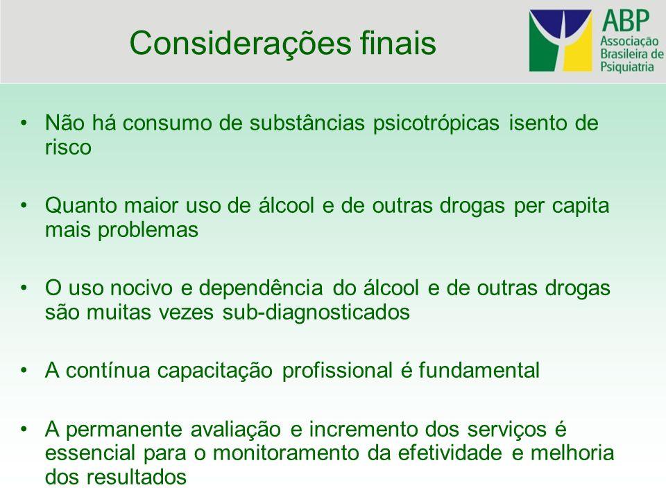 Considerações finais Não há consumo de substâncias psicotrópicas isento de risco Quanto maior uso de álcool e de outras drogas per capita mais problem