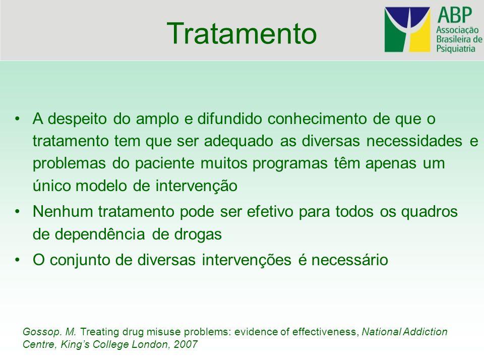Princípios do Tratamento da Dependência de Drogas (OMS,2008) 1.Disponibilidade e acesso - oferta de amplo sistema que atenda as várias possibilidades de necessidades do paciente - fundamental a redução de obstáculos para procura e permanência no tratamento 2.