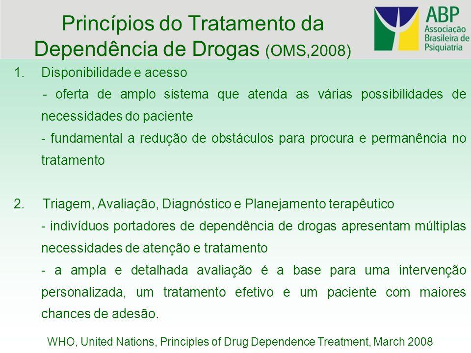Princípios do Tratamento da Dependência de Drogas (OMS,2008) 1.Disponibilidade e acesso - oferta de amplo sistema que atenda as várias possibilidades