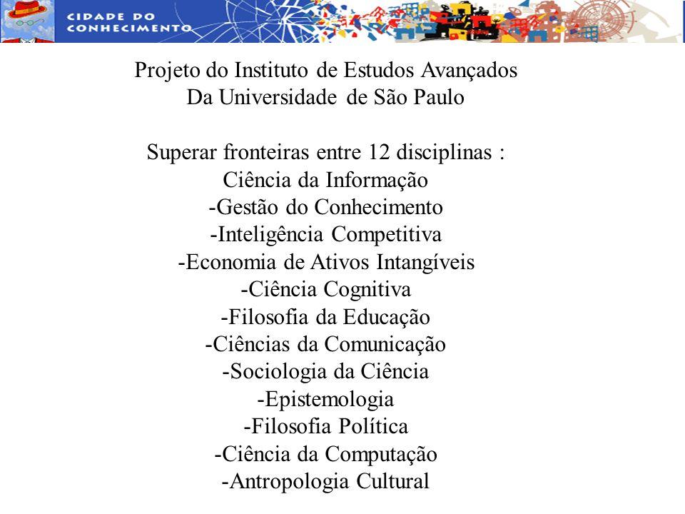 Projeto do Instituto de Estudos Avançados Da Universidade de São Paulo Superar fronteiras entre 12 disciplinas : Ciência da Informação -Gestão do Conh