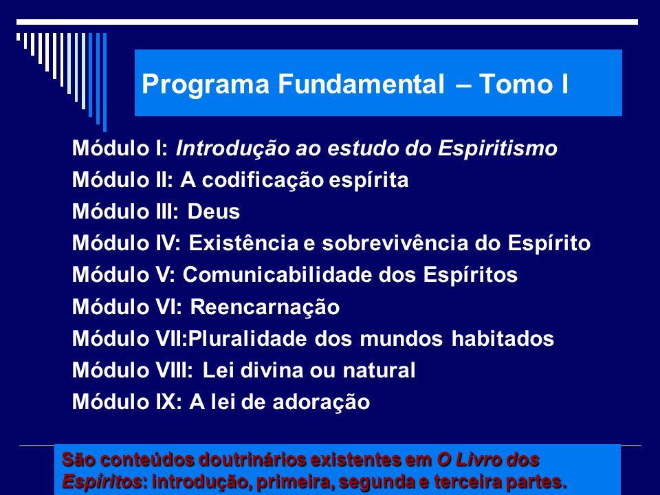 Programa Fundamental – Tomo I Módulo I: Introdução ao estudo do Espiritismo Módulo II: A codificação espírita Módulo III: Deus Módulo IV: Existência e