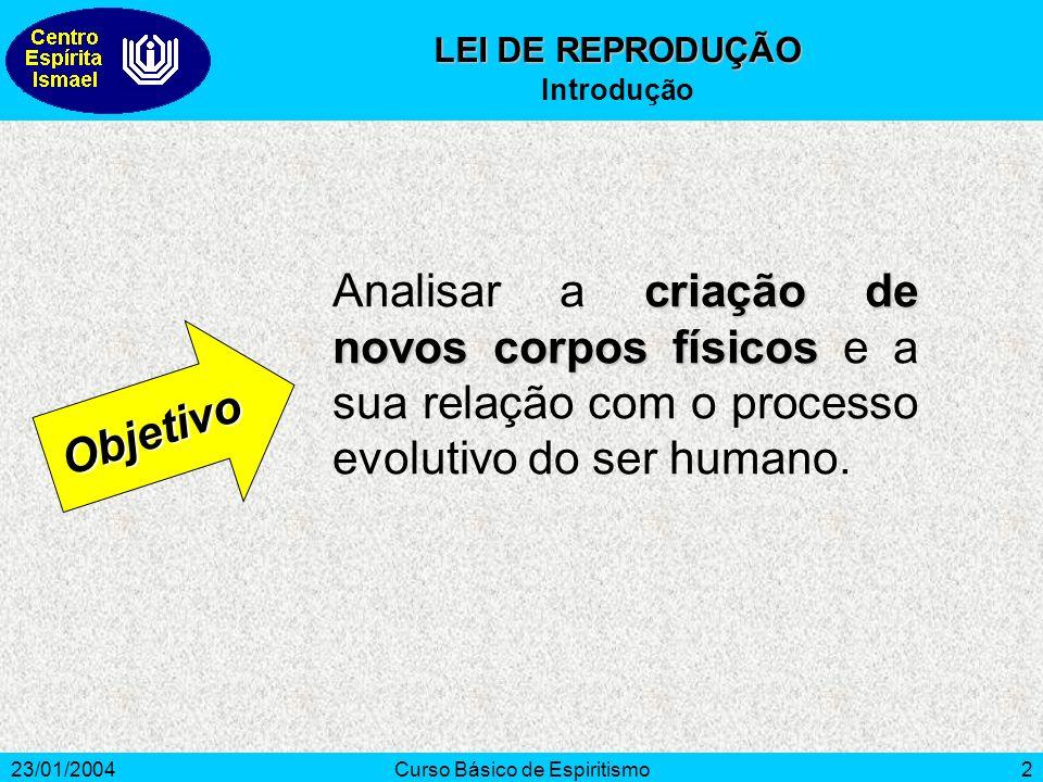 23/01/2004Curso Básico de Espiritismo2 criação de novos corpos físicos Analisar a criação de novos corpos físicos e a sua relação com o processo evolu