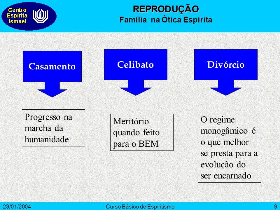 23/01/2004Curso Básico de Espiritismo9 Progresso na marcha da humanidade Meritório quando feito para o BEM O regime monogâmico é o que melhor se prest