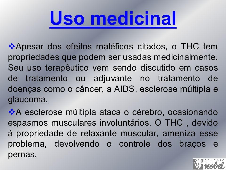 Apesar dos efeitos maléficos citados, o THC tem propriedades que podem ser usadas medicinalmente. Seu uso terapêutico vem sendo discutido em casos de