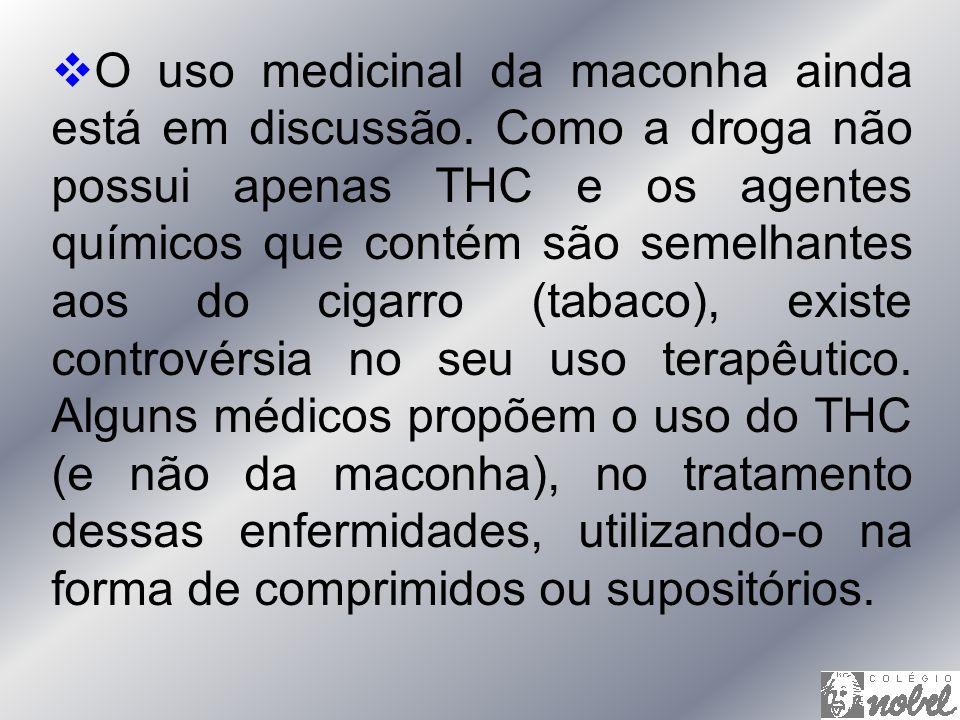 O uso medicinal da maconha ainda está em discussão. Como a droga não possui apenas THC e os agentes químicos que contém são semelhantes aos do cigarro