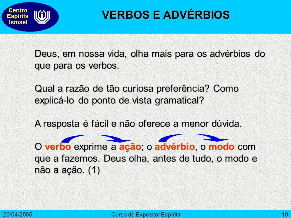 20/04/2005Curso de Expositor Espírita10 Deus, em nossa vida, olha mais para os advérbios do que para os verbos.