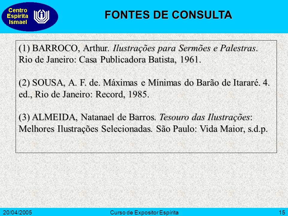 20/04/2005Curso de Expositor Espírita15 (1) BARROCO, Arthur.