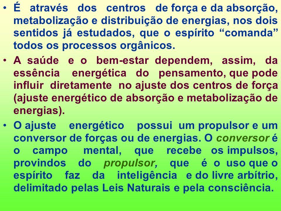 As energias transitam do corpo espiritual (espírito mais perispírito) para o corpo físico e vice-versa. Elas se inter-relacionam através de duas linha