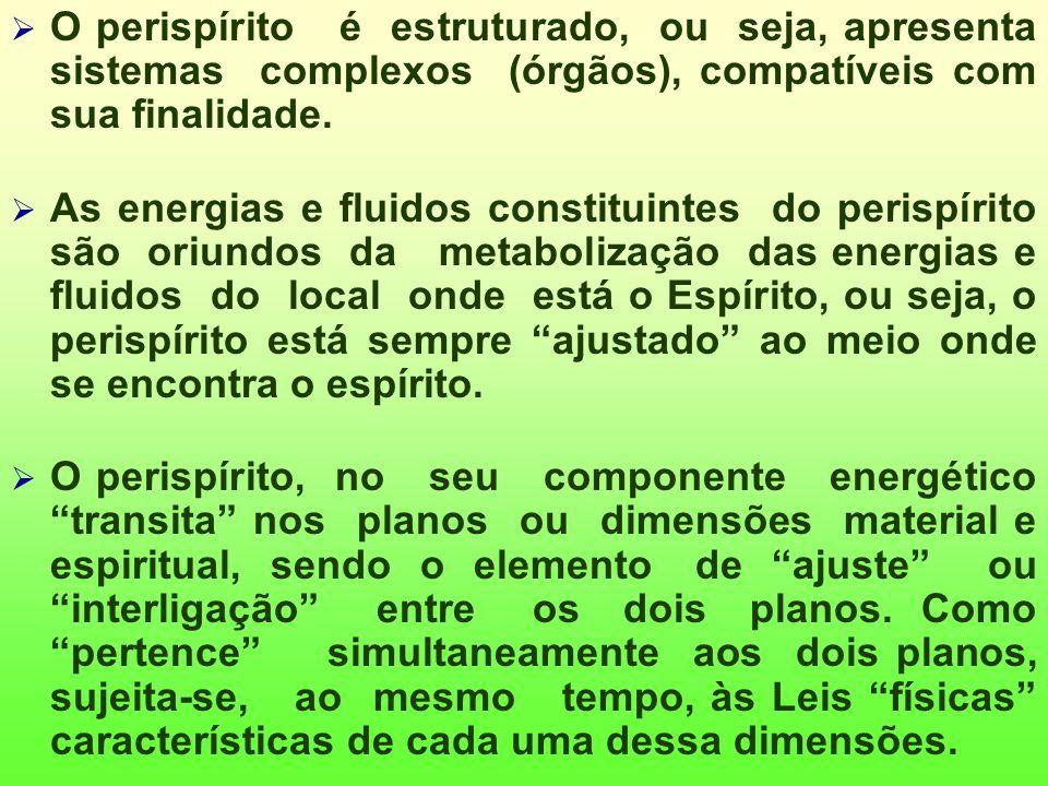 O perispírito é estruturado, ou seja, apresenta sistemas complexos (órgãos), compatíveis com sua finalidade.