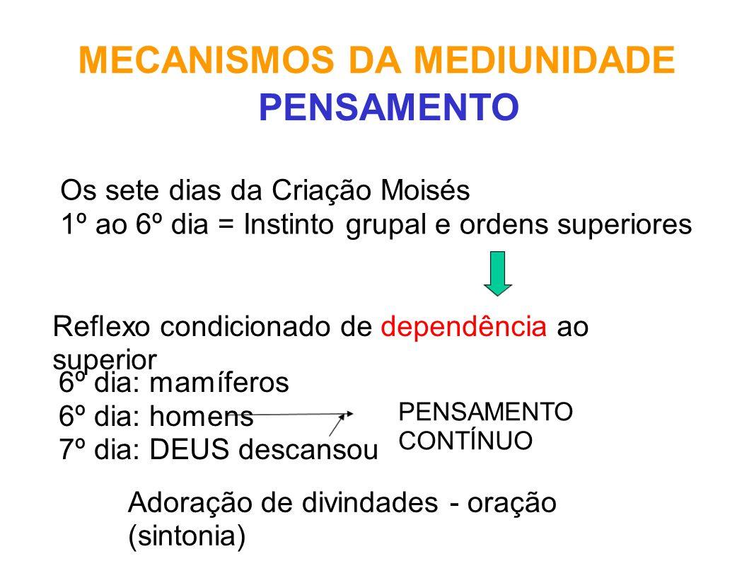 MECANISMOS DA MEDIUNIDADE Os sete dias da Criação Moisés 1º ao 6º dia = Instinto grupal e ordens superiores PENSAMENTO Reflexo condicionado de dependê