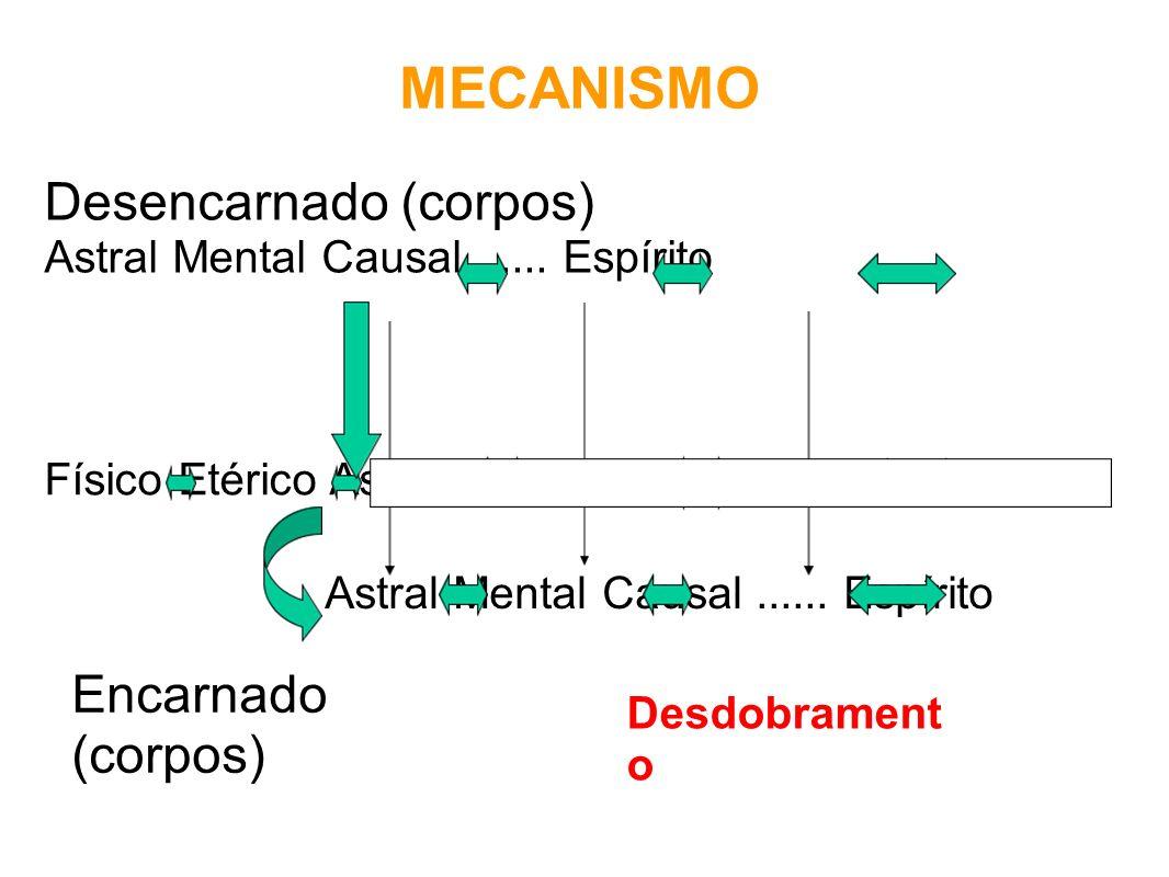 MECANISMO Desencarnado (corpos) Astral Mental Causal...... Espírito Físico Etérico Astral Mental Causal...... Espírito Astral Mental Causal...... Espí
