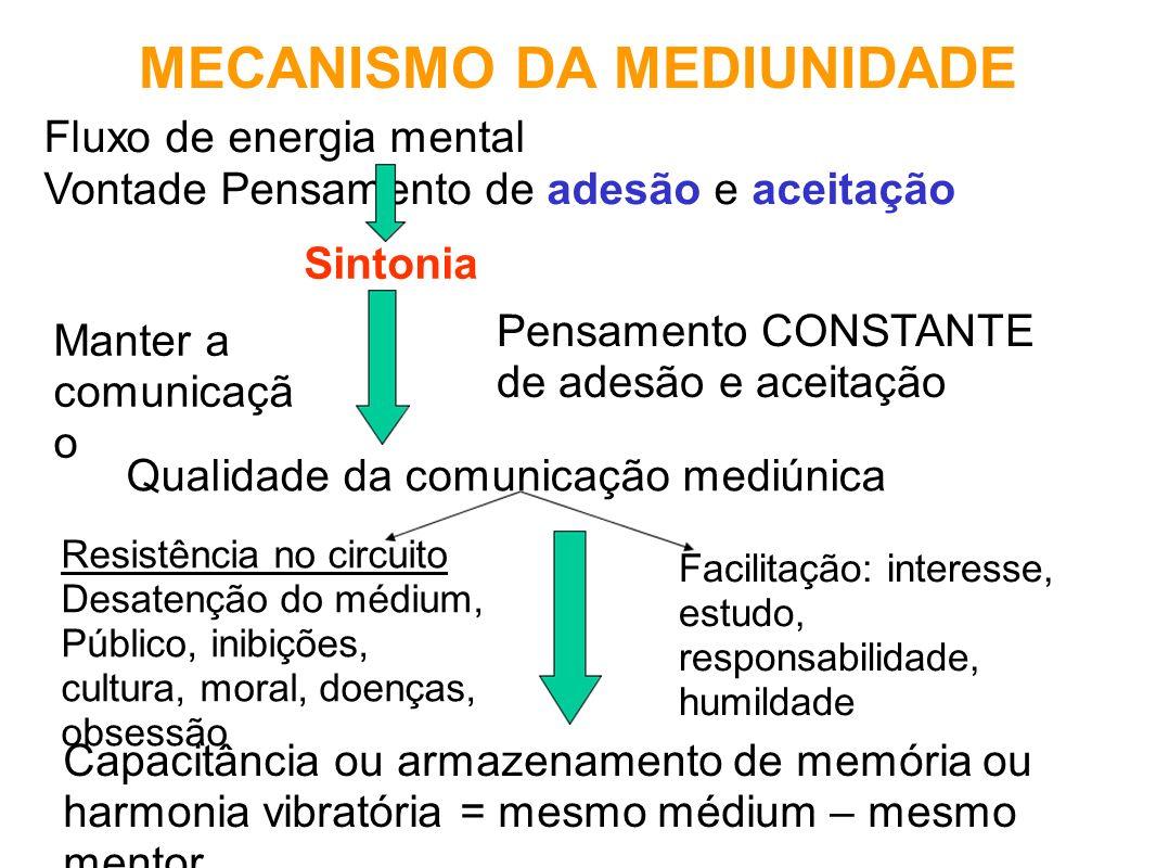 MECANISMO DA MEDIUNIDADE Fluxo de energia mental Vontade Pensamento de adesão e aceitação Sintonia Manter a comunicaçã o Pensamento CONSTANTE de adesã