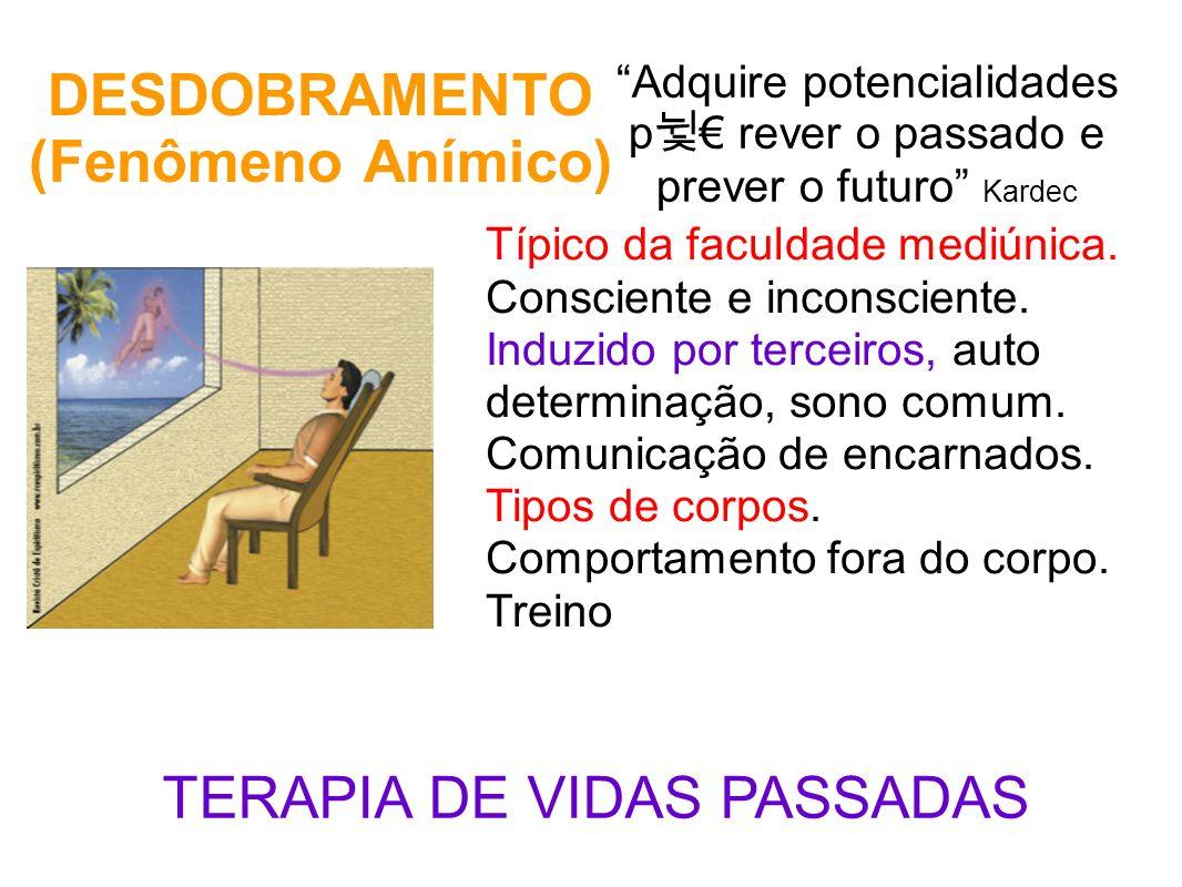 DESDOBRAMENTO (Fenômeno Anímico) Adquire potencialidades p rever o passado e prever o futuro Kardec Típico da faculdade mediúnica. Consciente e incons