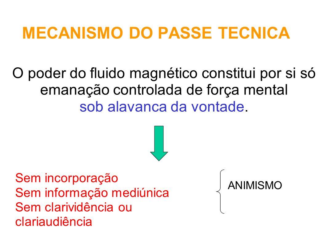 MECANISMO DO PASSE TECNICA O poder do fluido magnético constitui por si só emanação controlada de força mental sob alavanca da vontade. Sem incorporaç