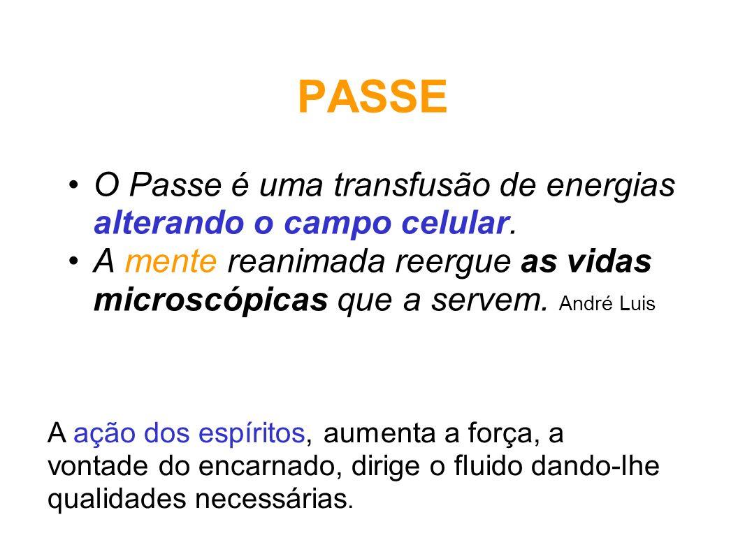 PASSE O Passe é uma transfusão de energias alterando o campo celular. A mente reanimada reergue as vidas microscópicas que a servem. André Luis A ação