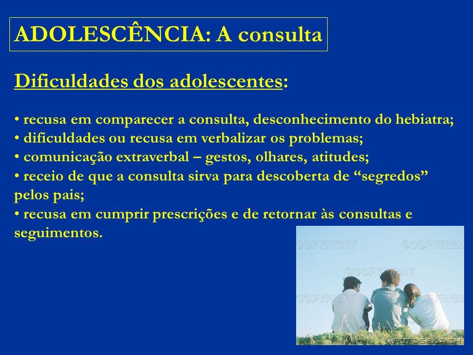ADOLESCENTE: A consulta DICA: uma boa tática é iniciar a anamnese com perguntas genéricas.