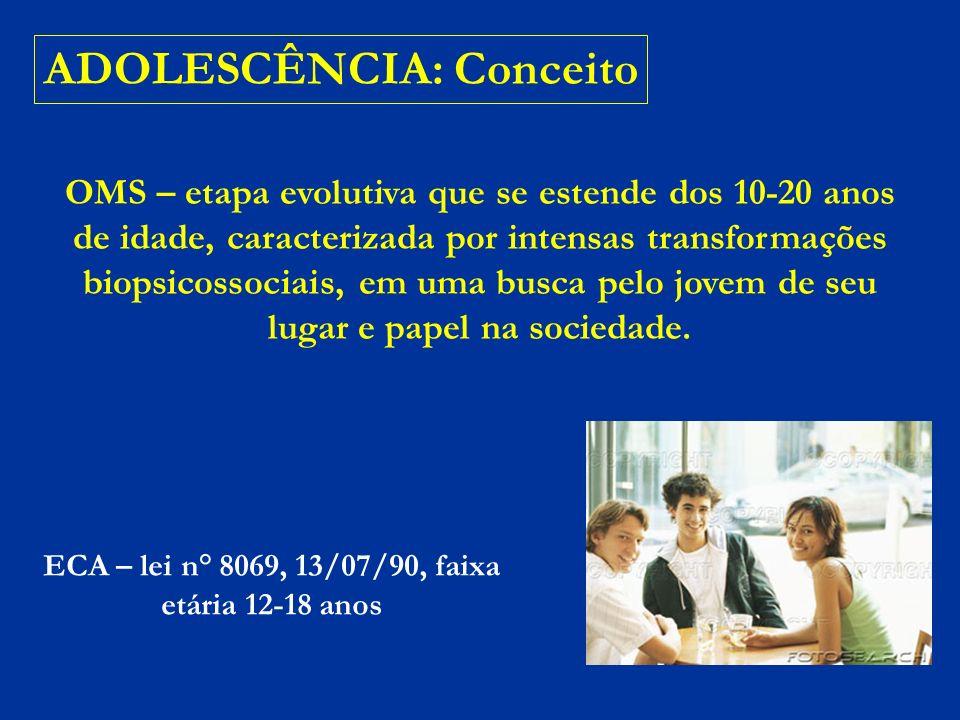 ADOLESCÊNCIA: Conceito HEBIATRIA – subespecialidade pediátrica, regulamentada desde 1998 pela Sociedade Brasileira de Pediatria; Associação Médica Brasileira em 1999 afirmou ser área de atuação do pediatra.
