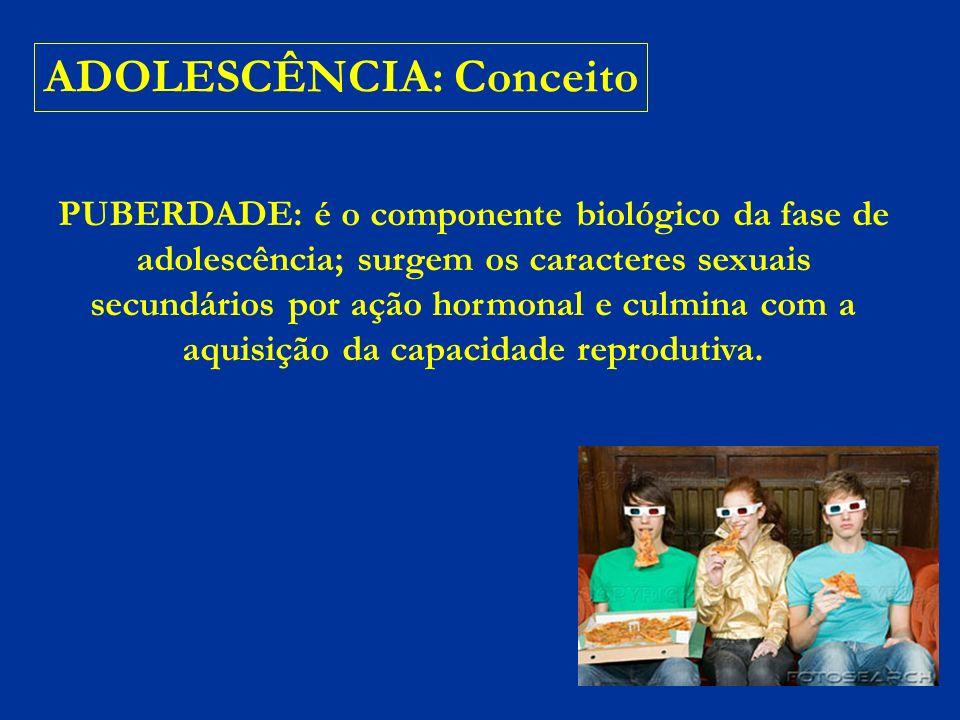 ADOLESCÊNCIA: Conceito ADOLESCÊNCIA: modificações hormonais e comportamentais (biopsicossociais) Lembrar: os primeiros indícios da puberdade – protrusão do mamilo e aumento testicular – assinalam o início da adolescência.