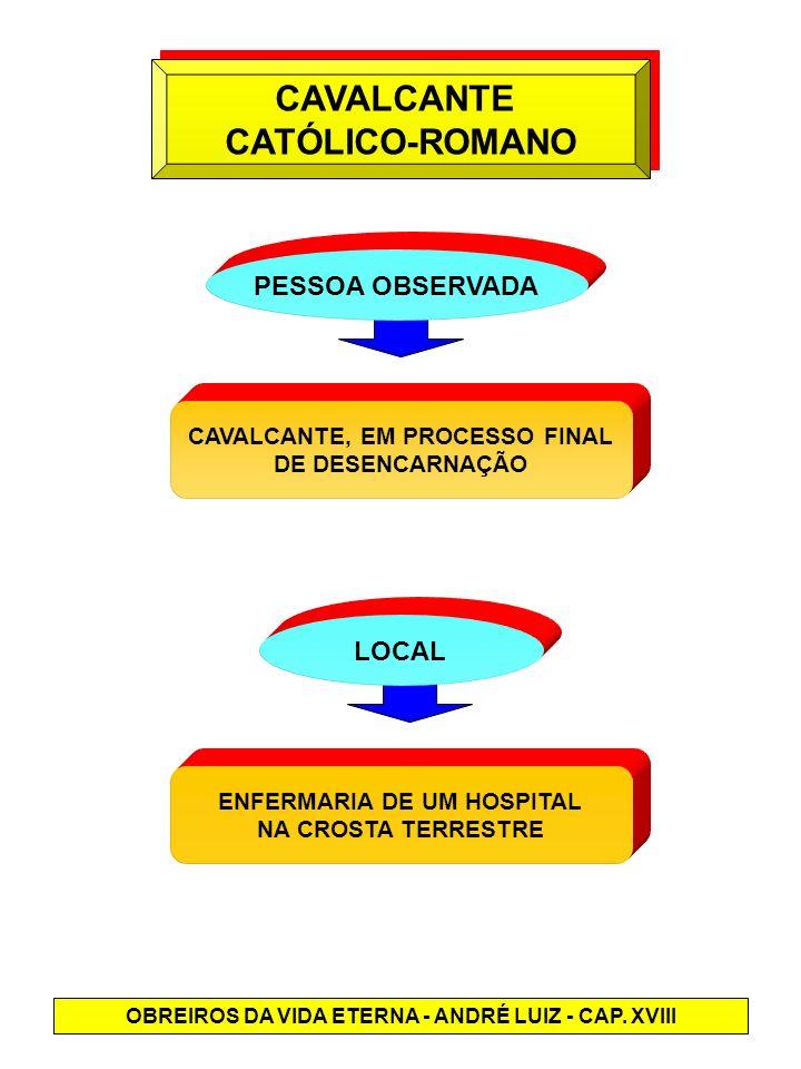 CAVALCANTE CATÓLICO-ROMANO CAVALCANTE CATÓLICO-ROMANO PESSOA OBSERVADA CAVALCANTE, EM PROCESSO FINAL DE DESENCARNAÇÃO LOCAL ENFERMARIA DE UM HOSPITAL