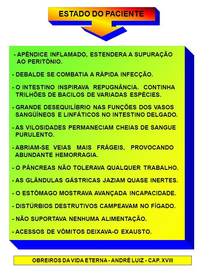 ESTADO DO PACIENTE OBREIROS DA VIDA ETERNA - ANDRÉ LUIZ - CAP. XVIII - APÊNDICE INFLAMADO, ESTENDERA A SUPURAÇÃO AO PERITÔNIO. - DEBALDE SE COMBATIA A