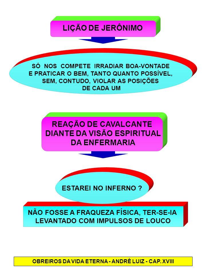 NÃO FOSSE A FRAQUEZA FÍSICA, TER-SE-IA LEVANTADO COM IMPULSOS DE LOUCO LIÇÃO DE JERÔNIMO REAÇÃO DE CAVALCANTE DIANTE DA VISÃO ESPIRITUAL DA ENFERMARIA