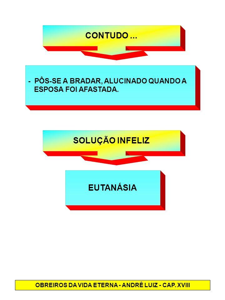 CONTUDO... SOLUÇÃO INFELIZ - PÔS-SE A BRADAR, ALUCINADO QUANDO A ESPOSA FOI AFASTADA. EUTANÁSIA OBREIROS DA VIDA ETERNA - ANDRÉ LUIZ - CAP. XVIII