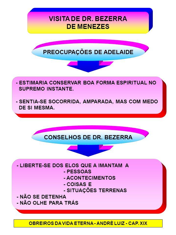 VISITA DE DR. BEZERRA DE MENEZES PREOCUPAÇÕES DE ADELAIDE - ESTIMARIA CONSERVAR BOA FORMA ESPIRITUAL NO SUPREMO INSTANTE. - SENTIA-SE SOCORRIDA, AMPAR