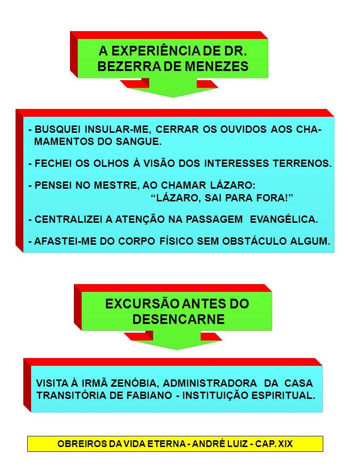 A EXPERIÊNCIA DE DR. BEZERRA DE MENEZES - BUSQUEI INSULAR-ME, CERRAR OS OUVIDOS AOS CHA- MAMENTOS DO SANGUE. - FECHEI OS OLHOS À VISÃO DOS INTERESSES