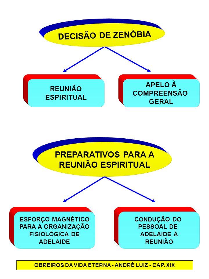 DECISÃO DE ZENÓBIA REUNIÃO ESPIRITUAL APELO À COMPREENSÃO GERAL PREPARATIVOS PARA A REUNIÃO ESPIRITUAL ESFORÇO MAGNÉTICO PARA A ORGANIZAÇÃO FISIOLÓGIC