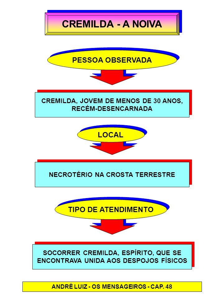 CREMILDA - A NOIVA PESSOA OBSERVADA CREMILDA, JOVEM DE MENOS DE 30 ANOS, RECÉM-DESENCARNADA CREMILDA, JOVEM DE MENOS DE 30 ANOS, RECÉM-DESENCARNADA LO