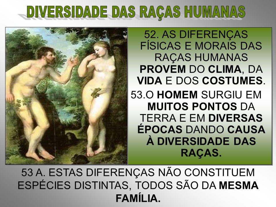 52.AS DIFERENÇAS FÍSICAS E MORAIS DAS RAÇAS HUMANAS PROVEM DO CLIMA, DA VIDA E DOS COSTUMES.