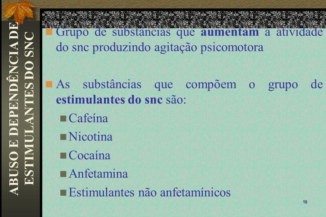 Grupo de substâncias que aumentam a atividade do snc produzindo agitação psicomotora As substâncias que compõem o grupo de estimulantes do snc são: Ca