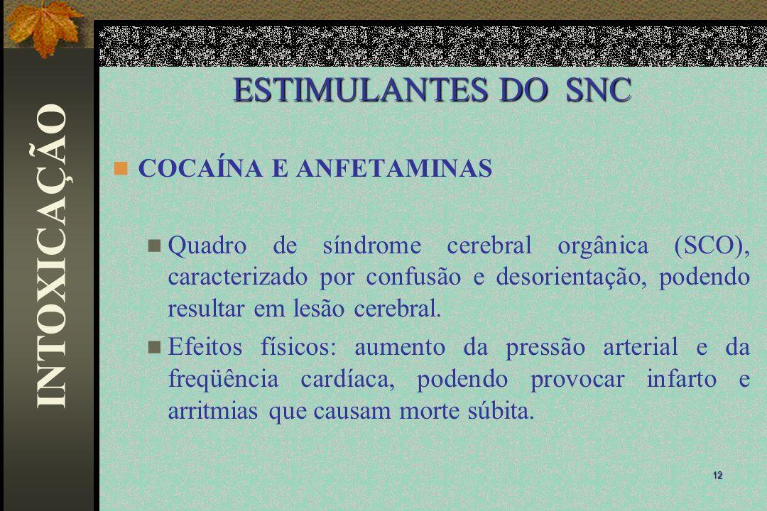 ESTIMULANTES DO SNC COCAÍNA E ANFETAMINAS Quadro de síndrome cerebral orgânica (SCO), caracterizado por confusão e desorientação, podendo resultar em