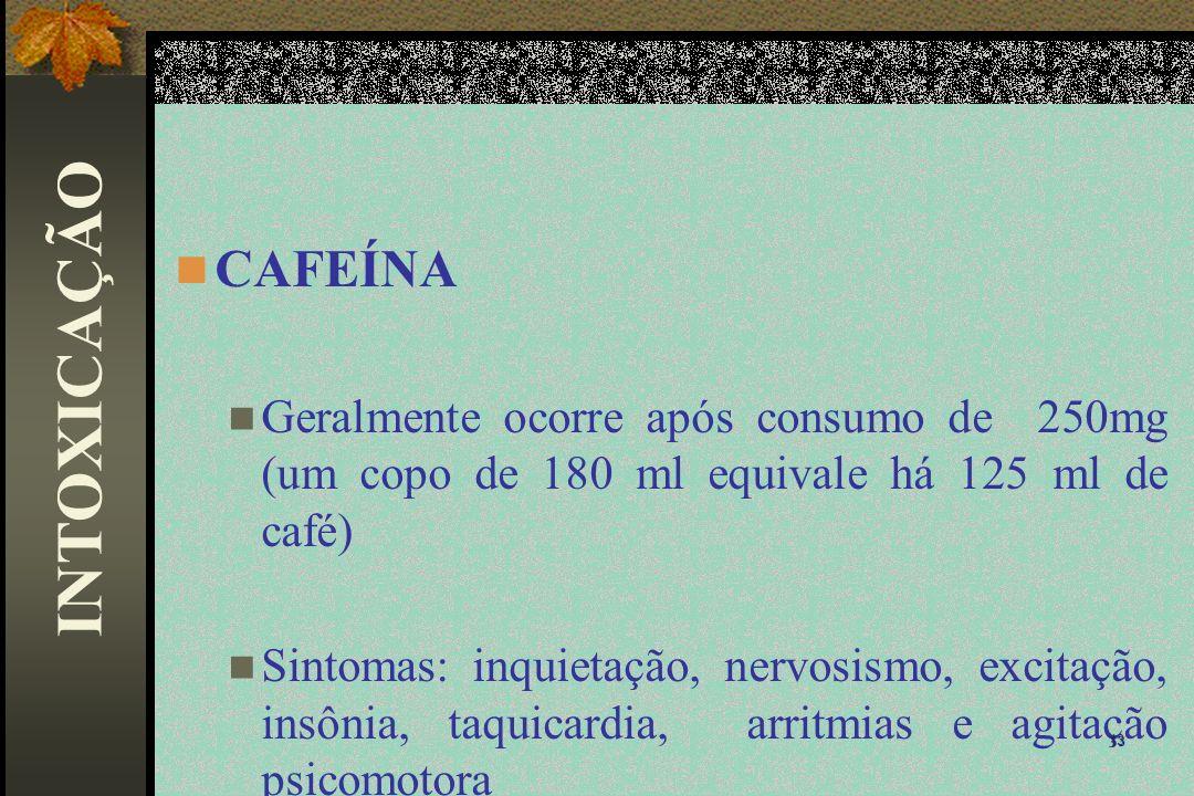 CAFEÍNA Geralmente ocorre após consumo de 250mg (um copo de 180 ml equivale há 125 ml de café) Sintomas: inquietação, nervosismo, excitação, insônia,