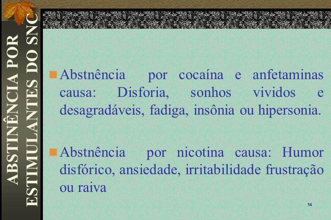 Abstnência por cocaína e anfetaminas causa: Disforia, sonhos vividos e desagradáveis, fadiga, insônia ou hipersonia. Abstnência por nicotina causa: Hu
