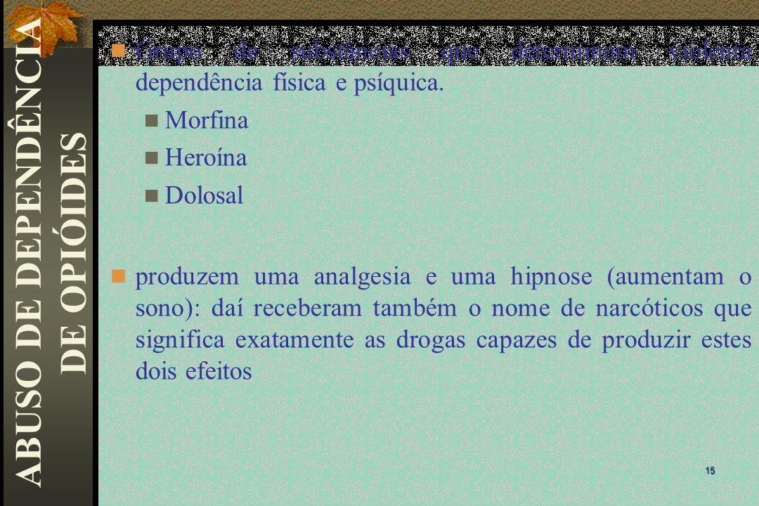 Grupo de substâncias que determinam violenta dependência física e psíquica. Morfina Heroína Dolosal produzem uma analgesia e uma hipnose (aumentam o s