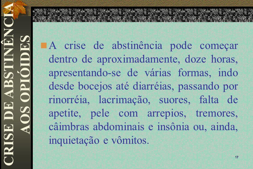 A crise de abstinência pode começar dentro de aproximadamente, doze horas, apresentando-se de várias formas, indo desde bocejos até diarréias, passand