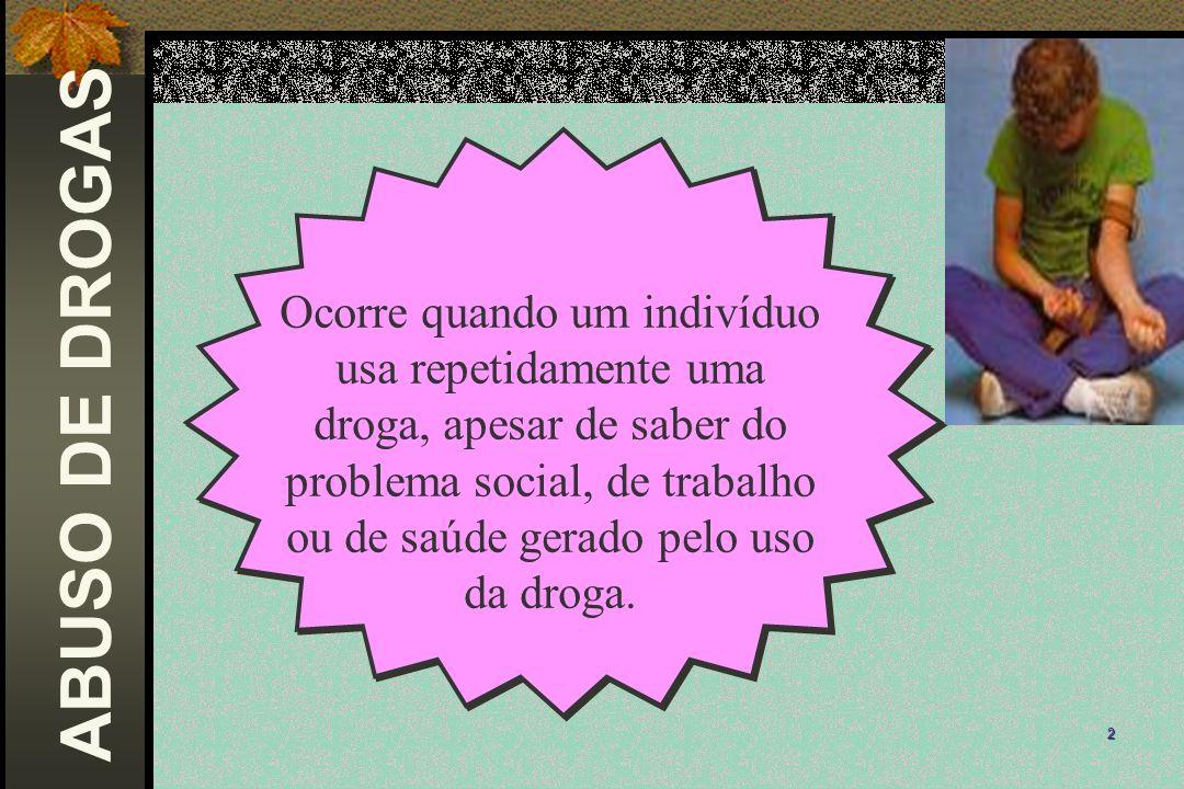 2 ABUSO DE DROGAS Ocorre quando um indivíduo usa repetidamente uma droga, apesar de saber do problema social, de trabalho ou de saúde gerado pelo uso