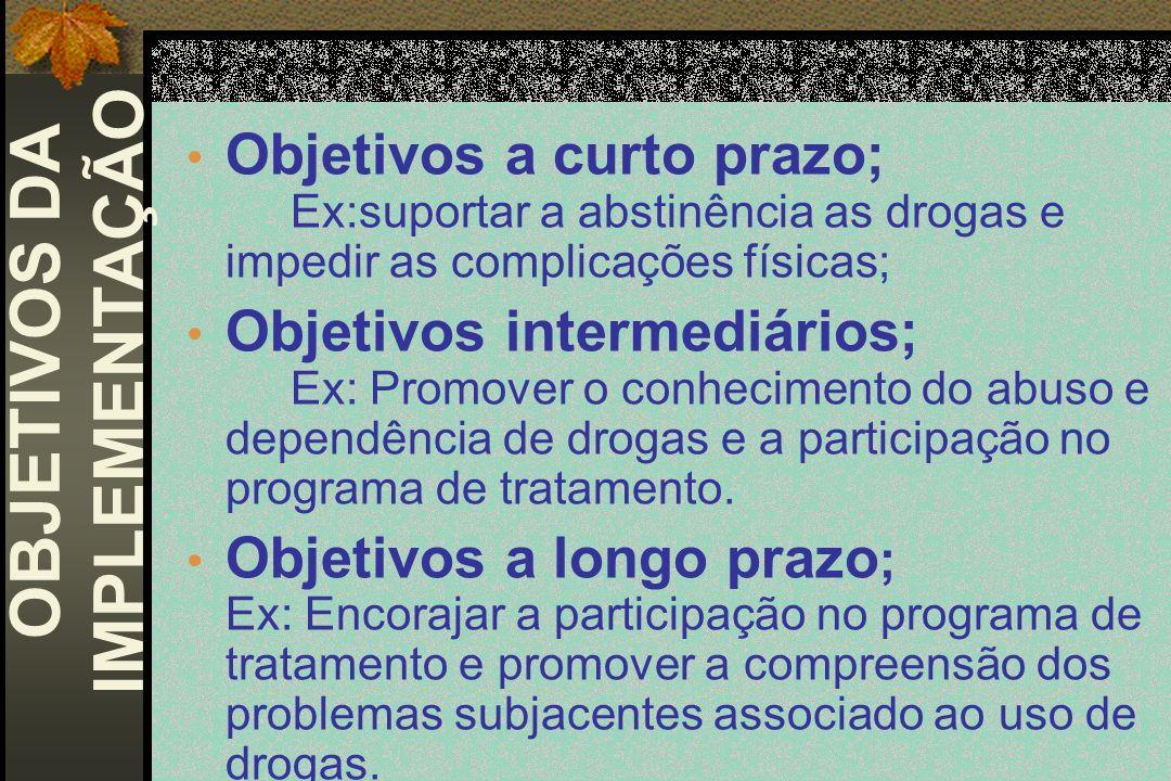 Objetivos a curto prazo; Ex:suportar a abstinência as drogas e impedir as complicações físicas; Objetivos intermediários; Ex: Promover o conhecimento
