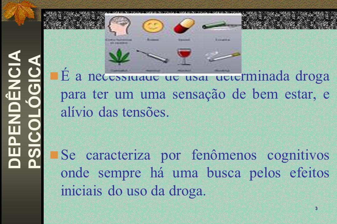 É a necessidade de usar determinada droga para ter um uma sensação de bem estar, e alívio das tensões. Se caracteriza por fenômenos cognitivos onde se