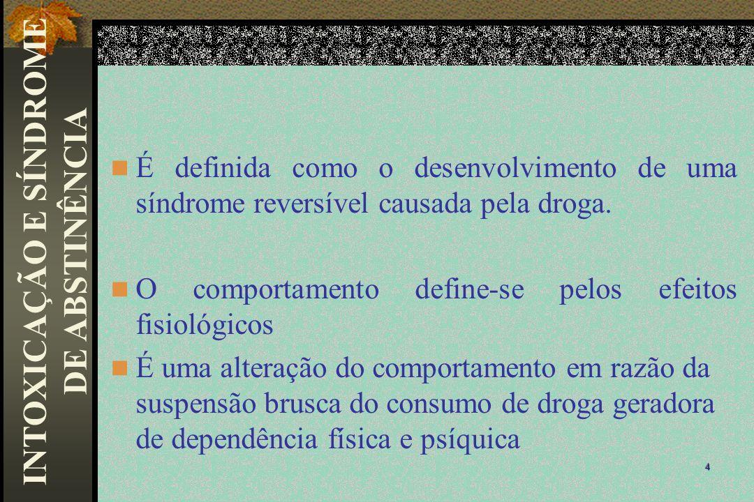 É definida como o desenvolvimento de uma síndrome reversível causada pela droga. O comportamento define-se pelos efeitos fisiológicos É uma alteração