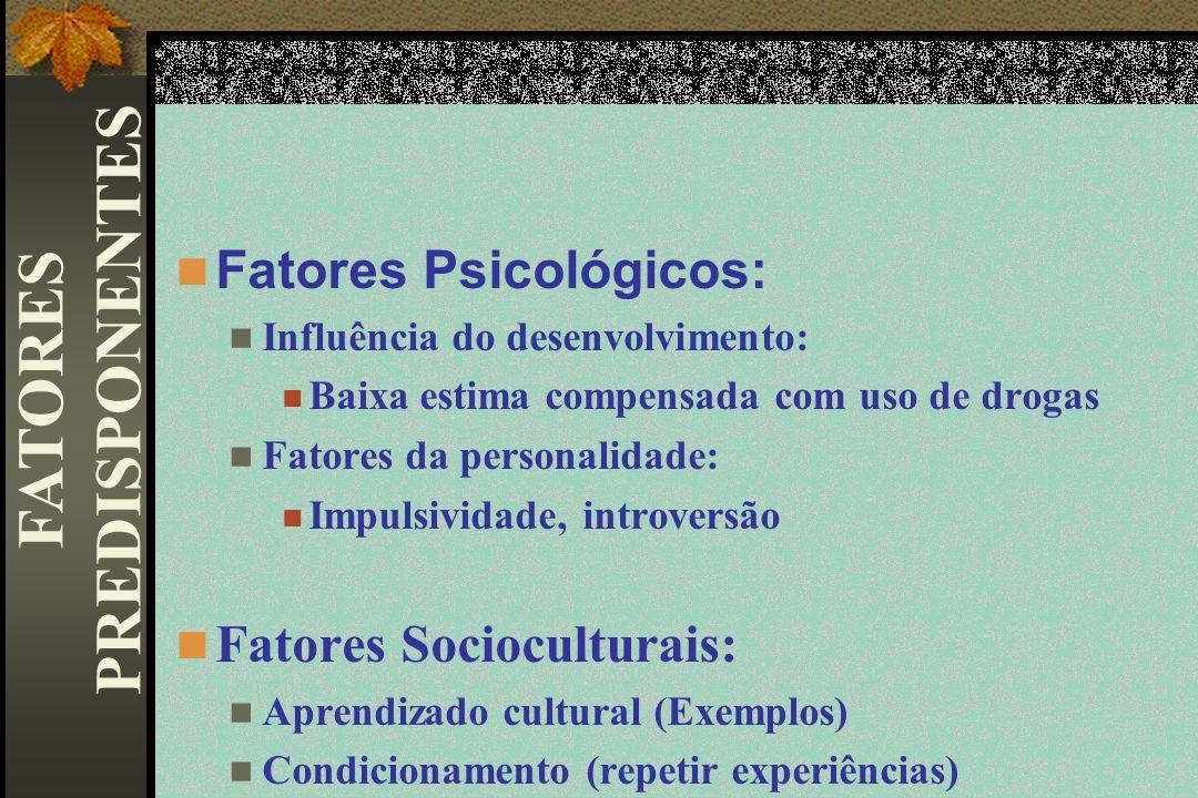 Fatores Psicológicos: Influência do desenvolvimento: Baixa estima compensada com uso de drogas Fatores da personalidade: Impulsividade, introversão Fa