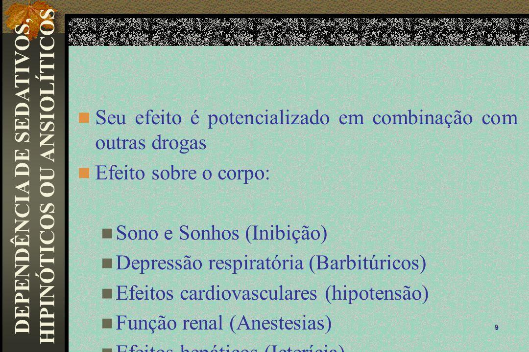 Seu efeito é potencializado em combinação com outras drogas Efeito sobre o corpo: Sono e Sonhos (Inibição) Depressão respiratória (Barbitúricos) Efeit