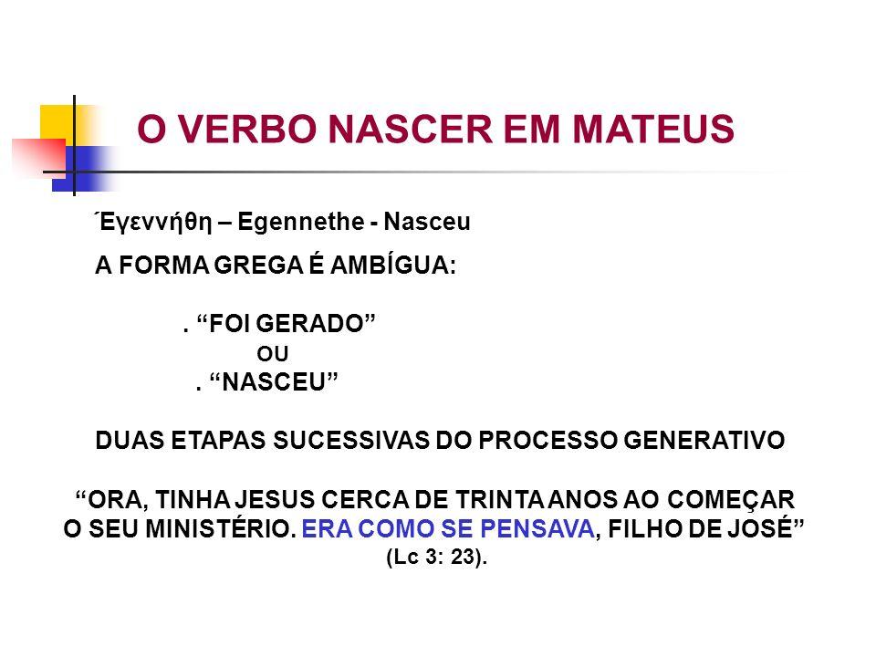 Έγεννήθη – Egennethe - Nasceu A FORMA GREGA É AMBÍGUA:. FOI GERADO OU. NASCEU DUAS ETAPAS SUCESSIVAS DO PROCESSO GENERATIVO ORA, TINHA JESUS CERCA DE