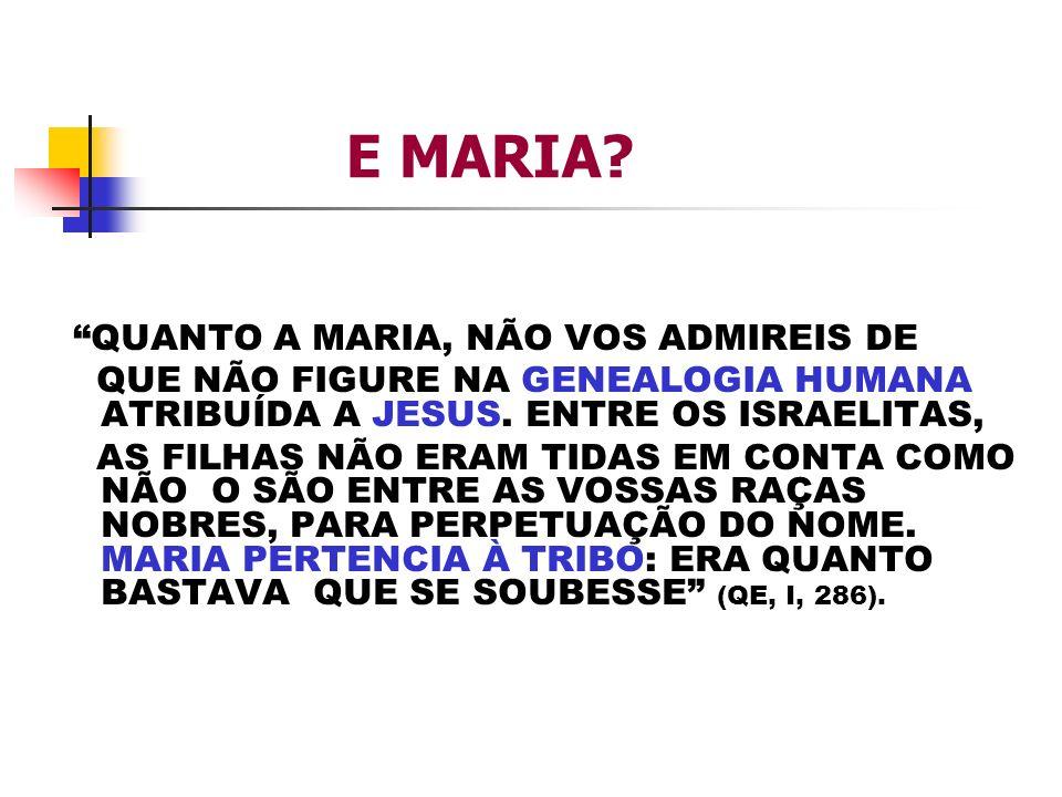 E MARIA? QUANTO A MARIA, NÃO VOS ADMIREIS DE QUE NÃO FIGURE NA GENEALOGIA HUMANA ATRIBUÍDA A JESUS. ENTRE OS ISRAELITAS, AS FILHAS NÃO ERAM TIDAS EM C